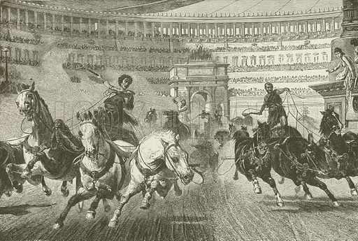 Charioteers. Illustration for The Pathway of Life by T Dewitt Talmage (Johnson, 1890).