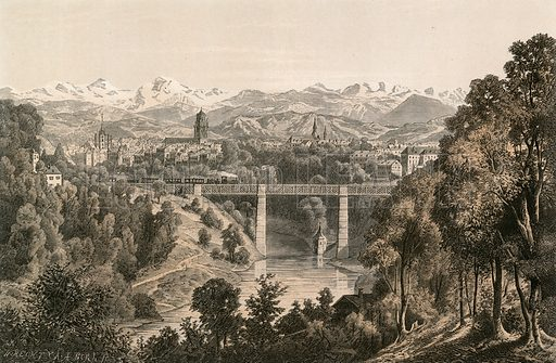 Berne and the Bernese Alps, from the Enge. Illustration for Switzerland (Blackie, 1881).