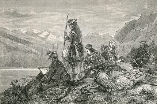 Tourists resting on the Alps. Illustration for Switzerland (Blackie, 1881).