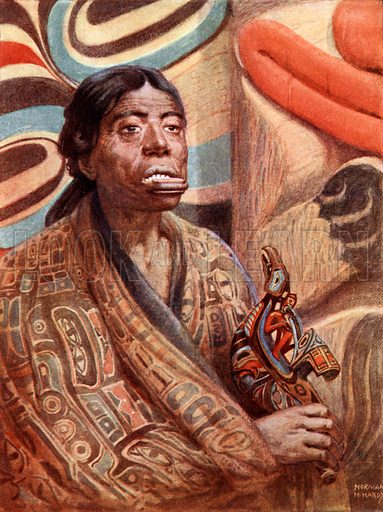 A Haida Woman of Queen Charlotte Island (North-West America), Shewing Lip-Plug. Illustration for Women of All Nations (Cassell, c 1910).