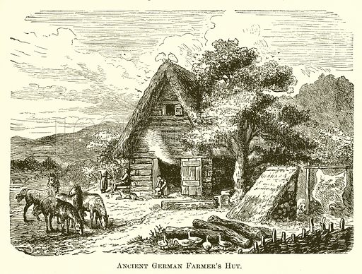 Ancient German Farmer's Hut. Illustration for A Pictorial History of the World's Great Nations by Charlotte M Yonge (Selmar Hess, c 1880).