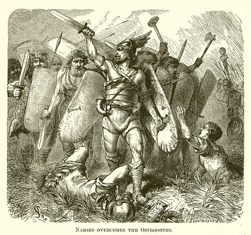 Narses overcomes the Ostrogoths. Illustration for A Pictorial History of the World's Great Nations by Charlotte M Yonge (Selmar Hess, c 1880).