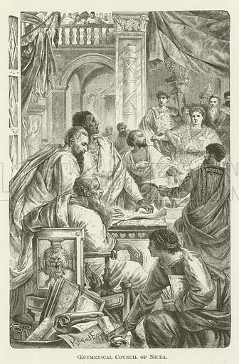 Oecumenical Council of Nicea. Illustration for A Pictorial History of the World's Great Nations by Charlotte M Yonge (Selmar Hess, c 1880).