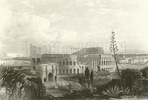 Coliseum at Rome. Illustration for A Pictorial History of the World's Great Nations by Charlotte M Yonge (Selmar Hess, c 1880).