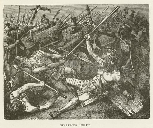 Spartacus' Death. Illustration for A Pictorial History of the World's Great Nations by Charlotte M Yonge (Selmar Hess, c 1880).