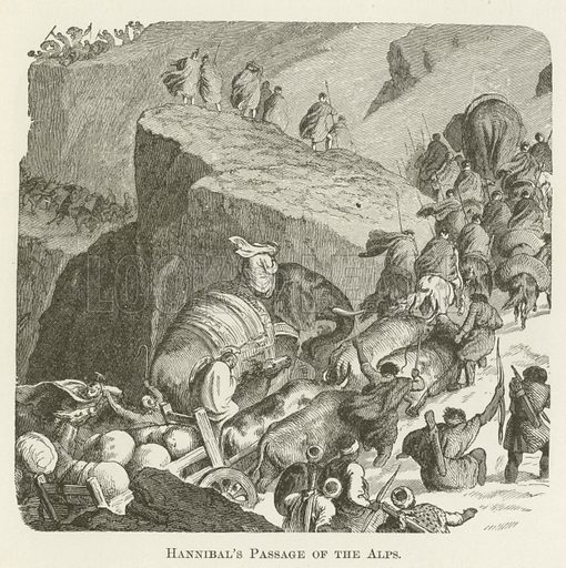 Hannibal's Passage of the Alps. Illustration for A Pictorial History of the World's Great Nations by Charlotte M Yonge (Selmar Hess, c 1880).