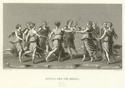 Apollo and the Muses. Illustration for A Pictorial History of the World's Great Nations by Charlotte M Yonge (Selmar Hess, c 1880).