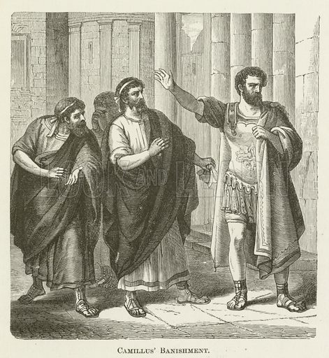 Camillus' Banishment. Illustration for A Pictorial History of the World's Great Nations by Charlotte M Yonge (Selmar Hess, c 1880).