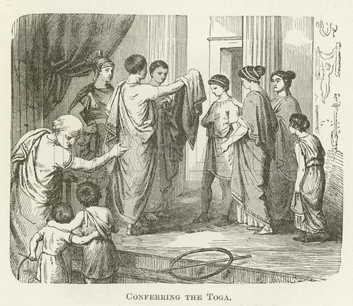 Conferring the Toga. Illustration for A Pictorial History of the World's Great Nations by Charlotte M Yonge (Selmar Hess, c 1880).
