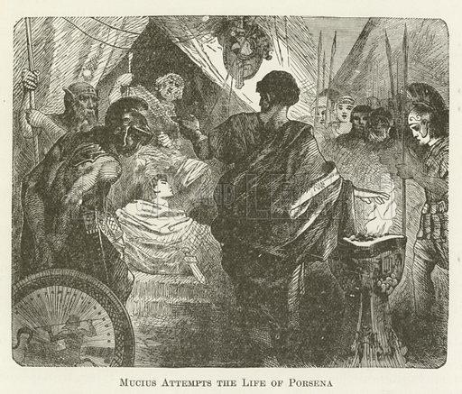 Mucius Attempts the Life of Porsena. Illustration for A Pictorial History of the World's Great Nations by Charlotte M Yonge (Selmar Hess, c 1880).
