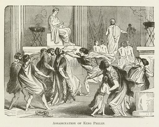 Assassination of King Philip. Illustration for A Pictorial History of the World's Great Nations by Charlotte M Yonge (Selmar Hess, c 1880).