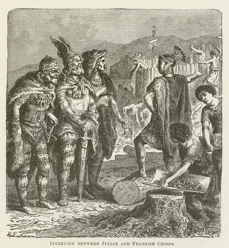 Interview between Julian and Frankish Chiefs. Illustration for A Pictorial History of the World's Great Nations by Charlotte M Yonge (Selmar Hess, c 1880).