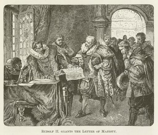 Rudolf II grants the Letter of Majesty. Illustration for A Pictorial History of the World's Great Nations by Charlotte M Yonge (Selmar Hess, c 1880).
