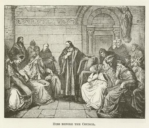 Huss before the Council. Illustration for A Pictorial History of the World's Great Nations by Charlotte M Yonge (Selmar Hess, c 1880).