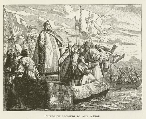 Friedrich crossing to Asia Minor. Illustration for A Pictorial History of the World's Great Nations by Charlotte M Yonge (Selmar Hess, c 1880).