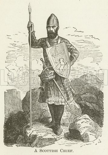A Scottish Chief. Illustration for A Pictorial History of the World's Great Nations by Charlotte M Yonge (Selmar Hess, c 1880).