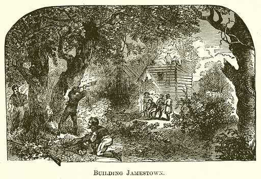 Building Jamestown. Illustration for A Pictorial History of the World's Great Nations by Charlotte M Yonge (Selmar Hess, c 1880).