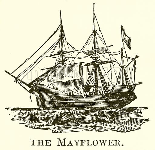 The Mayflower. Illustration for A Pictorial History of the World's Great Nations by Charlotte M Yonge (Selmar Hess, c 1880).