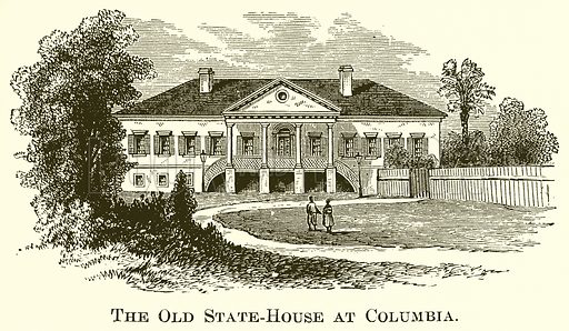 The Old State-House at Columbia. Illustration for A Pictorial History of the World's Great Nations by Charlotte M Yonge (Selmar Hess, c 1880).