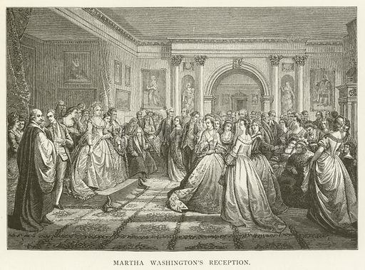 Martha Washington's Reception. Illustration for A Pictorial History of the World's Great Nations by Charlotte M Yonge (Selmar Hess, c 1880).