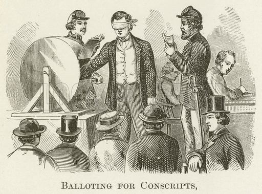 Balloting for Conscripts. Illustration for A Pictorial History of the World's Great Nations by Charlotte M Yonge (Selmar Hess, c 1880).