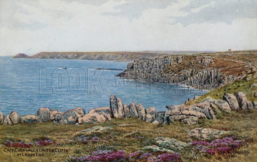 Cape Cornwall, and Caves and Cliffs, at Lands End.