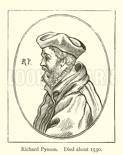 Richard Pynson, Died about 1530. Illustration for A History of Booksellers by Henry Curwen (Chatto and Windus, c 1880).