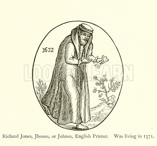 Richard Jones, Jhones, or Johnes, English Printer, Was living in 1571. Illustration for A History of Booksellers by Henry Curwen (Chatto and Windus, c 1880).