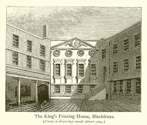 The King's Printing House, Blackfriars. Illustration for A History of Booksellers by Henry Curwen (Chatto and Windus, c 1880).