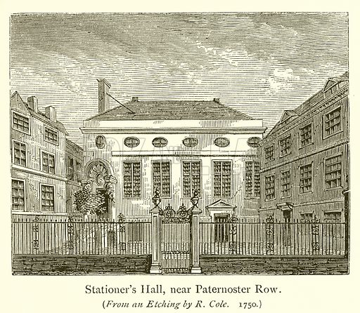 Stationer's Hall, near Paternoster Row. Illustration for A History of Booksellers by Henry Curwen (Chatto and Windus, c 1880).