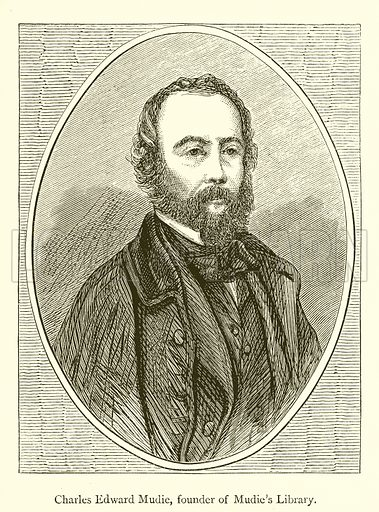 Charles Edward Mudie, founder of Mudie's Library. Illustration for A History of Booksellers by Henry Curwen (Chatto and Windus, c 1880).