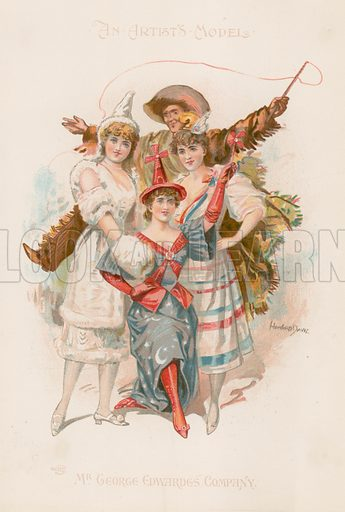 Three women dancers in costume with a man holding a whip. Published in Souvenir or An Artist's Model, by Mr George Edwardes' Company; Illustrated by Howard Davie.