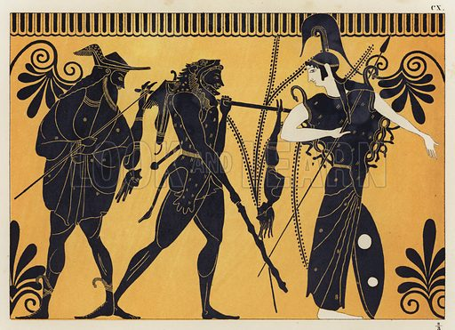 Hercules and Cercopes. Illustration of Greek vase painting.