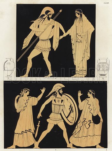 Helen of Troy. Helen's bridal guide and Helen at the Fall of Troy Illustration of Greek vase painting.
