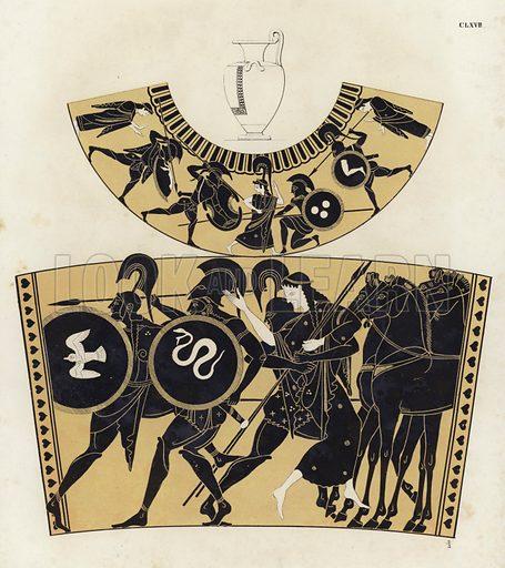 Battles in Ancient Greece. Illustration of Greek vase painting.
