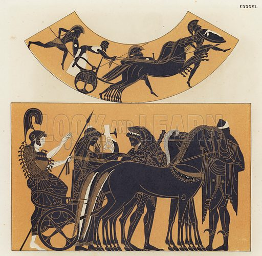 Chariot scenes from Ancient Greece. Illustration of Greek vase painting.