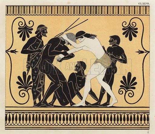 Peleus and Atalanta wrestling. Illustration of Greek vase painting.