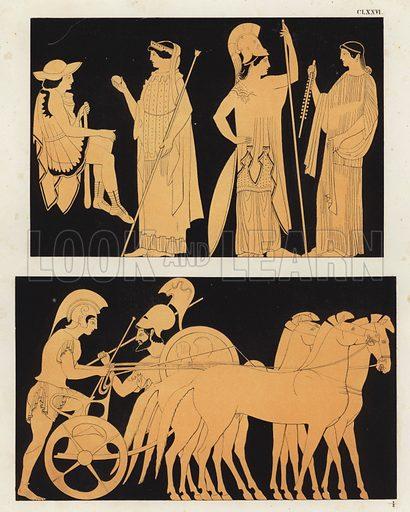 Judgment of Paris. Illustration of Greek vase painting.