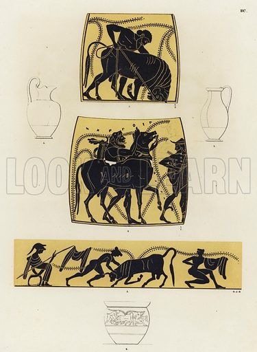 Cretan Bull. Illustration of Greek vase painting.