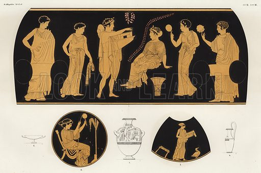 Bridal gifts. Illustration of Greek vase painting.