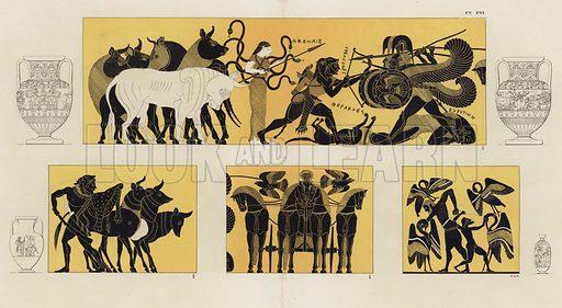 Hercules in battle with Geryon. Illustration of Greek vase painting.