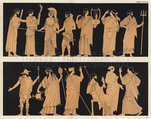 Heracles and Athena, surrounded by other Greek gods and goddesses. Illustration of Greek vase painting.