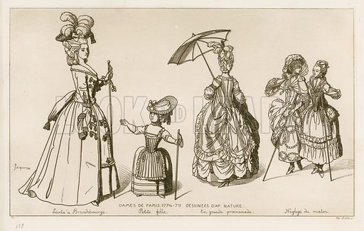 Women of Paris, 1774–79. Drawings from life. Illustration for Iconographie Général et Méthodique du Costume du IV au XIX siècle by Raphael Jacquemin (Paris, 1869). Engraved by Delatre.
