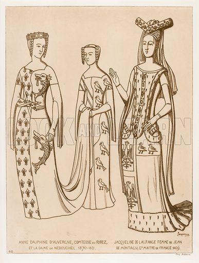 Illustration for Iconographie Général et Méthodique du Costume du IV au XIX siècle by Raphael Jacquemin (Paris, 1869). Engraved by Delatre.