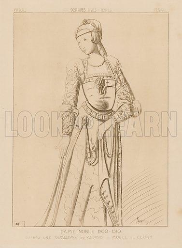 Noble woman, 1500–1510. Drawing after a tapestry of the time, Museum of Cluny. Illustration for Iconographie Général et Méthodique du Costume du IV au XIX siècle by Raphael Jacquemin (Paris, 1869). Engraved by Delatre.