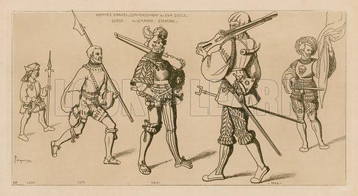 Men at arms, start of the 16th century. Illustration for Iconographie Général et Méthodique du Costume du IV au XIX siècle by Raphael Jacquemin (Paris, 1869). Engraved by Delatre.