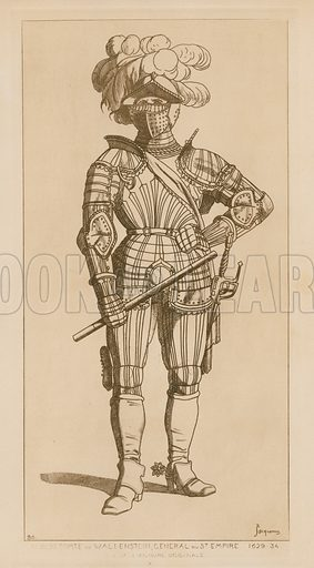 Albert, Count of Wallenstein and General of the Holy Empire, 1629–34. Illustration for Iconographie Général et Méthodique du Costume du IV au XIX siècle by Raphael Jacquemin (Paris, 1869). Engraved by Delatre.