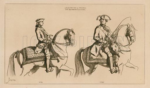 Louis XVI, King of France. Drawings after portraits of the time. Illustration for Iconographie Général et Méthodique du Costume du IV au XIX siècle by Raphael Jacquemin (Paris, 1869). Engraved by Delatre.