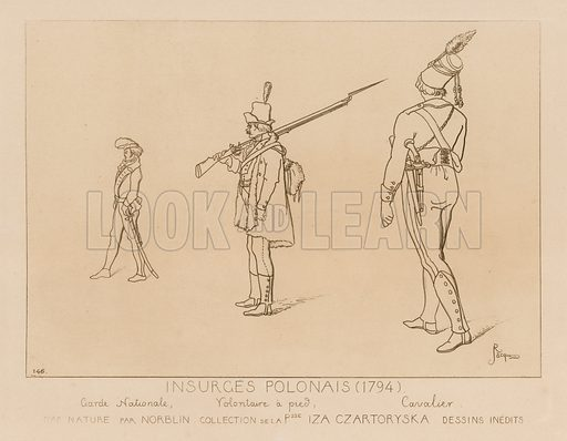 Polish insurgents, 1794. National guard, volunteer on foot, cavalryman. Drawings after original artwork by Norblin in the collection of Izabela Czartoryska. Illustration for Iconographie Général et Méthodique du Costume du IV au XIX siècle by Raphael Jacquemin (Paris, 1869). Engraved by Delatre.