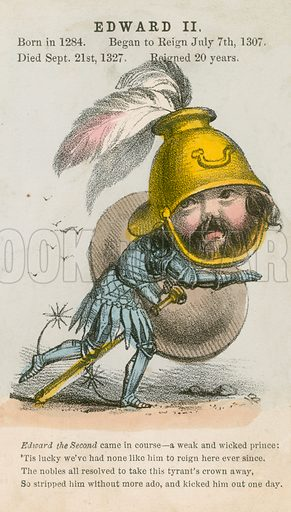 King Edward II. Illustration for Alfred Crowquill's Comic History of the Kings and Queens of England (Read & Co, c 1860).